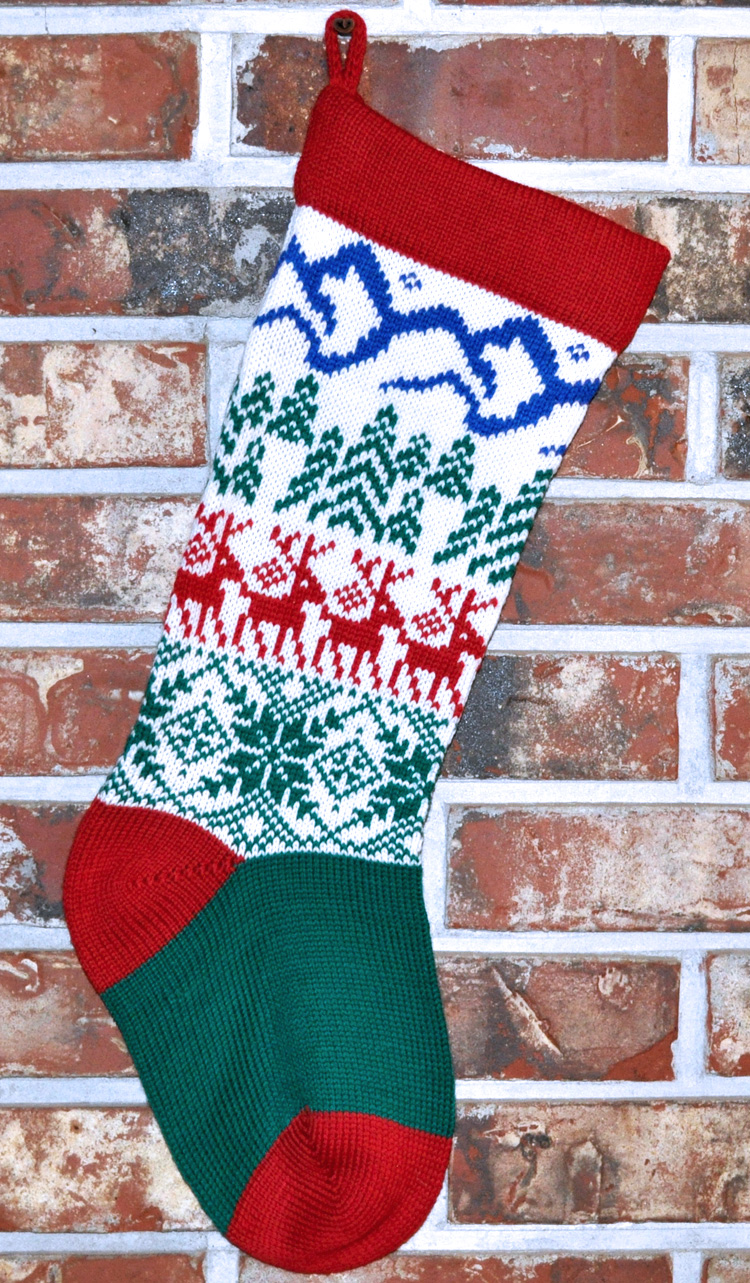100% Wool Handmade Knit Christmas Stockings, Style 2, with Name