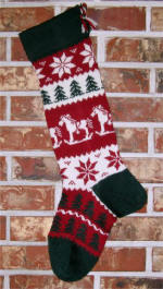 Rocking Horse, Patterned Foot Christmas Stocking