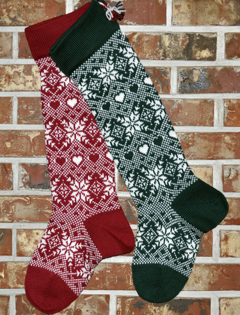 Snowflakes & Hearts Knit Christmas Stocking