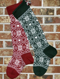 Snowflakes & Hearts Christmas Stocking