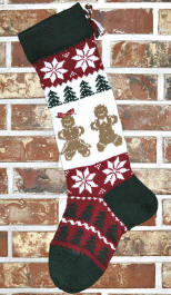 Knit Gingerbread Man & Woman Stocking
