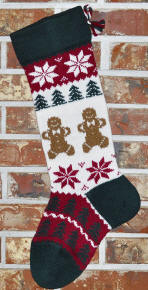 Knit Gingerbread Men Christmas Stocking
