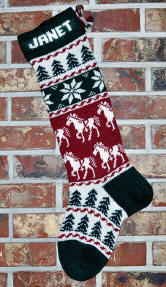 Horses & Snowflakes Knit Christmas Stocking