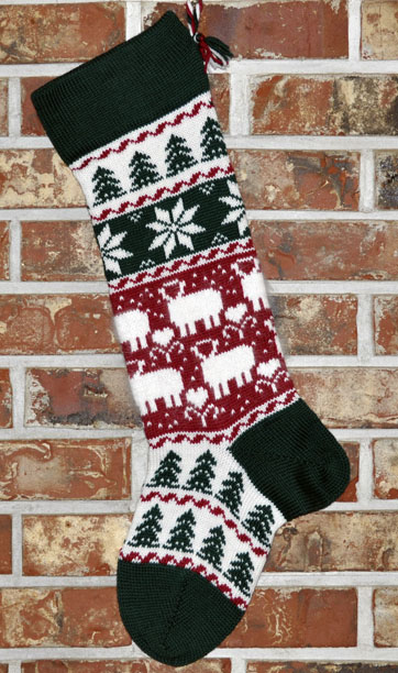 Christmas Lambs in Angora Knit Christmas Stocking