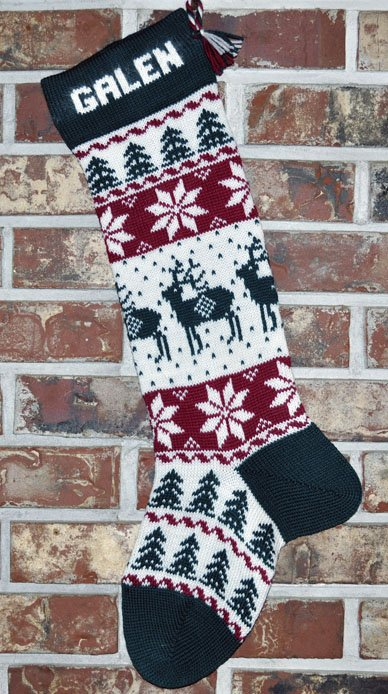 Reindeer Knit Christmas Stocking