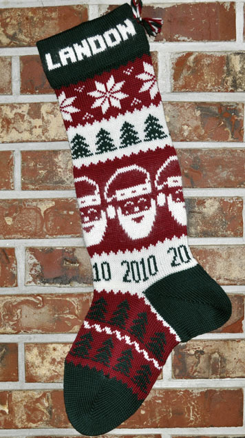 Santa Stocking knit with Year 2016