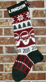 Santa Stocking knit with Year 2010