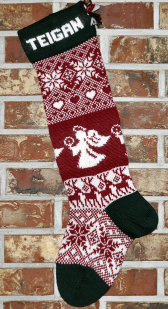 Angels & Reindeer Knit Christmas Stocking