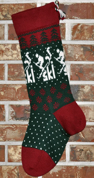 Skier Knit Christmas Stocking