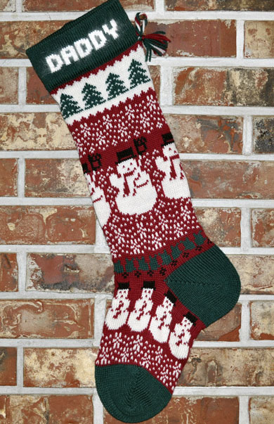 Knitting Pattern For Christmas Stocking Personalized : Snowman Knit Christmas Stocking