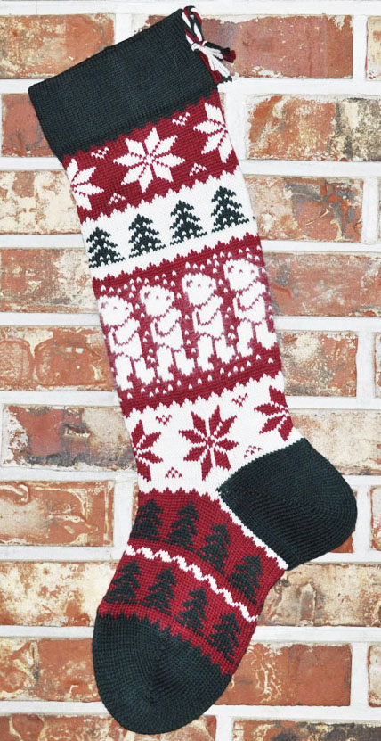 Angora Teddy Bear Knit Christmas Stocking