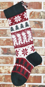 Knit Angora Teddy Bear Christmas Stocking